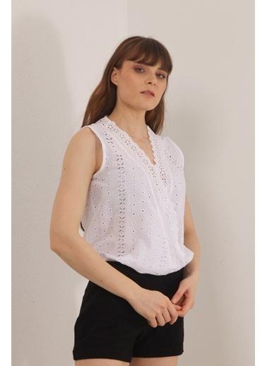 Reyon Dantelli Bluz Beyaz Beyaz